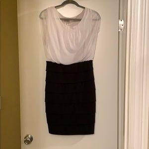 White and black mini dress